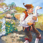 A man is happily walking away after exchanging a pig for a goose.